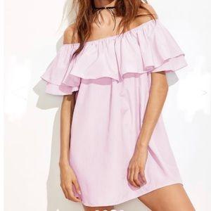 Off shoulder Pink striped dress